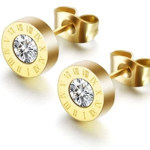 Fashion Crystal Round Roman Numeral Stud Earrings